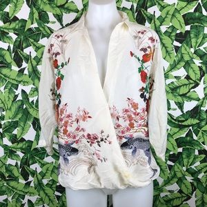 5 for $25 Zara Floral Koi Fish Faux Wrap Blouse